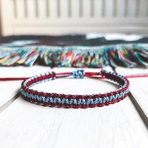 2 for $10 ➤ Maroon & Smokey Blue Nylon Bracelet